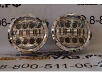 Фара светодиодная универсальная хромированная 7 дюймов 80 Вт с ДХО для УАЗ, Нива